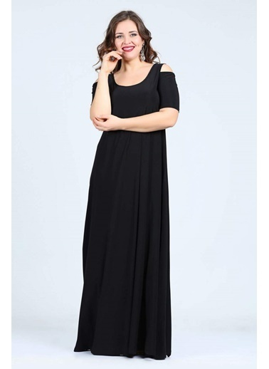 Angelino Butik Büyük Beden Omzu Yırtmaçlı Uzun Abiye Elbise KL1101U Siyah